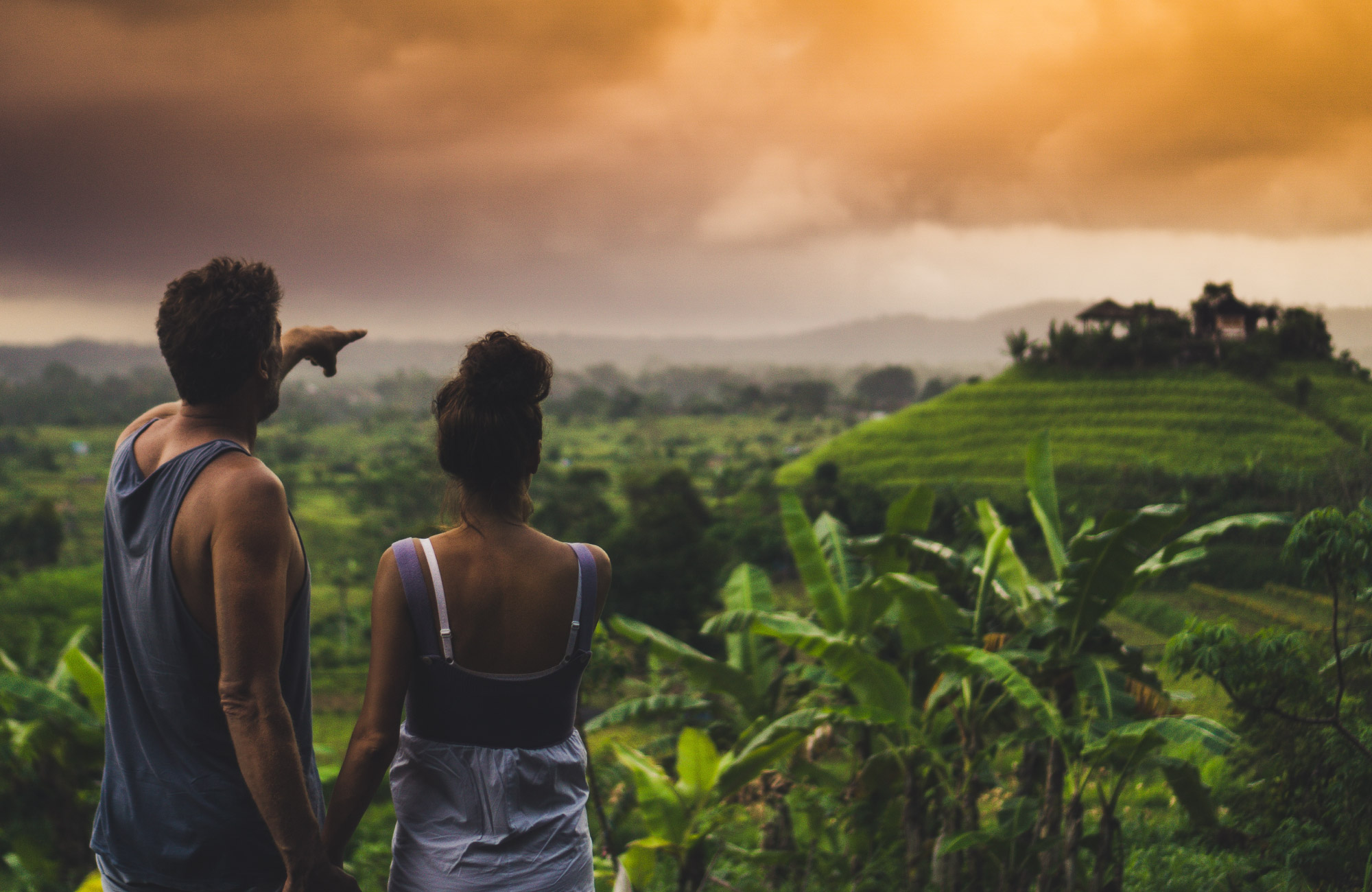Two travellers together in Bali, Indonesia.