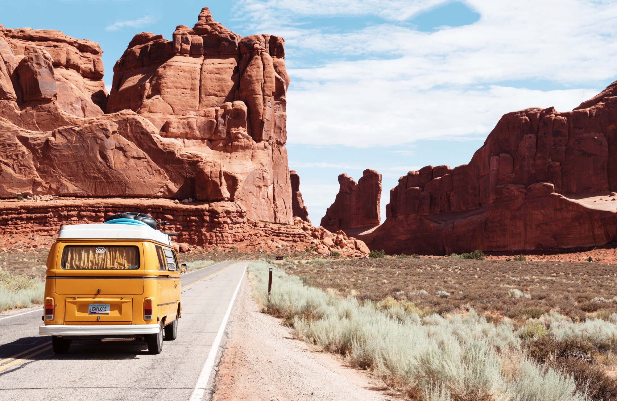 A campervan driving along the road in the USA