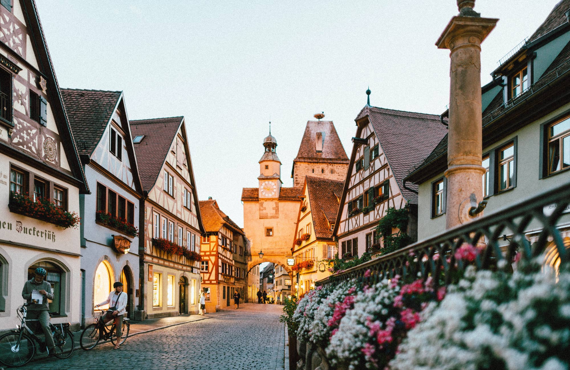 A pretty street in Rothenburg ob der Tauber in Germany