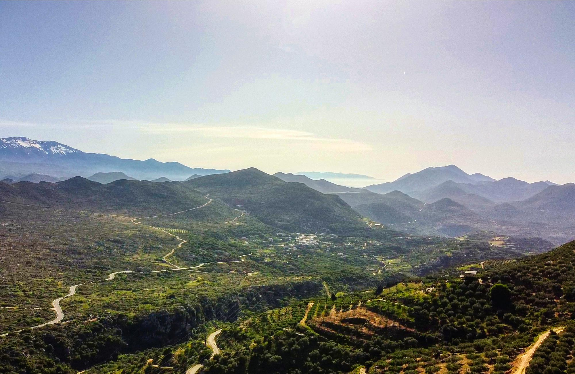 The green hills and mountains of Crete.