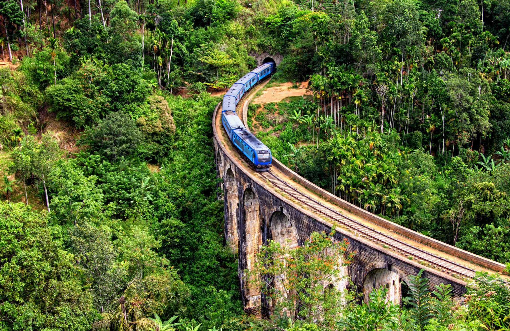 A train travels across a bridge in Ella, Sri Lanka