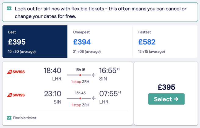 A flexible ticket option in the flight search results page, showing a traveller that this flight can be cancelled or changed for free