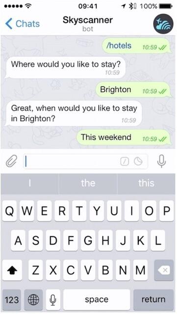 Conversation with Skyscanner Chatbot on Telegram