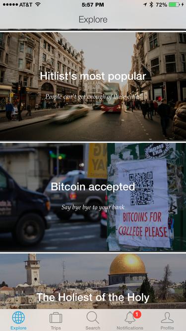 Hitlist Explore page
