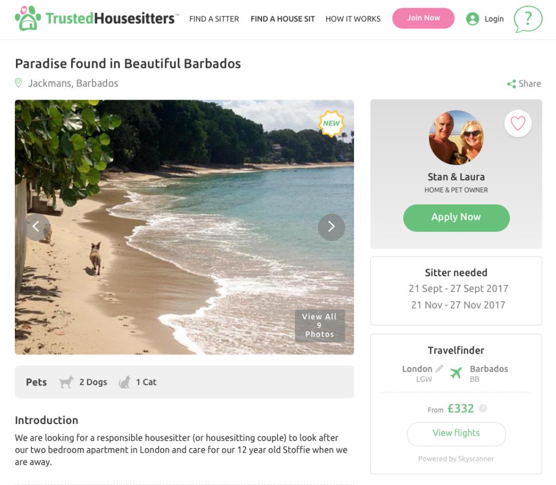 Trusted Housesitters website