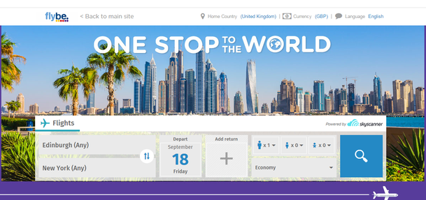 Flybe's One Stop to the World flight tool powered by Skyscanner