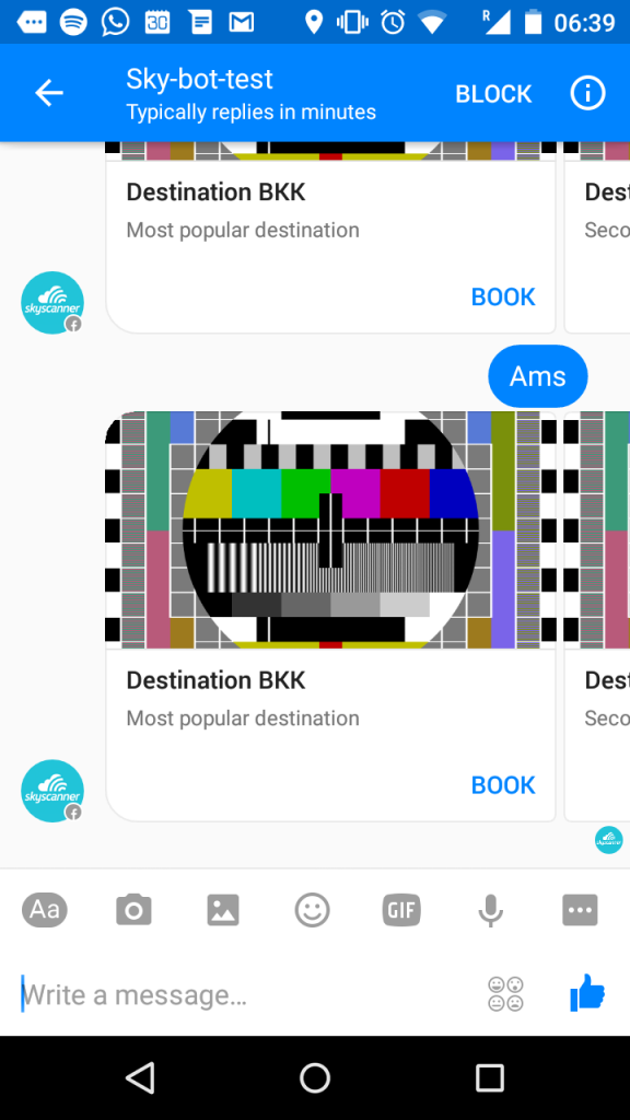 Skyscanner Facebook Messenger Bot test