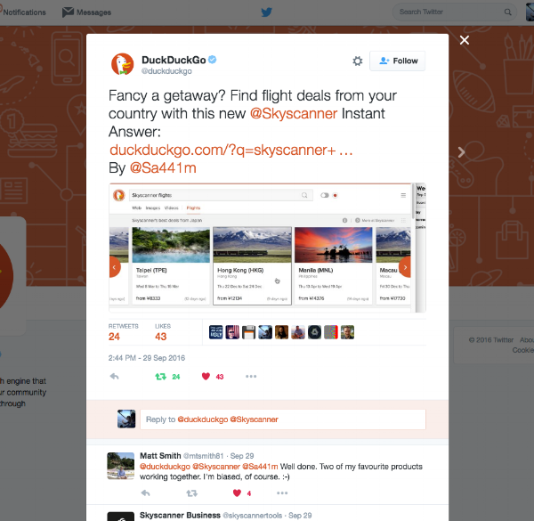 DuckDuckGo Instant Answers using Skyscanner