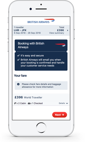 British Airways on Skyscanner Direct Booking