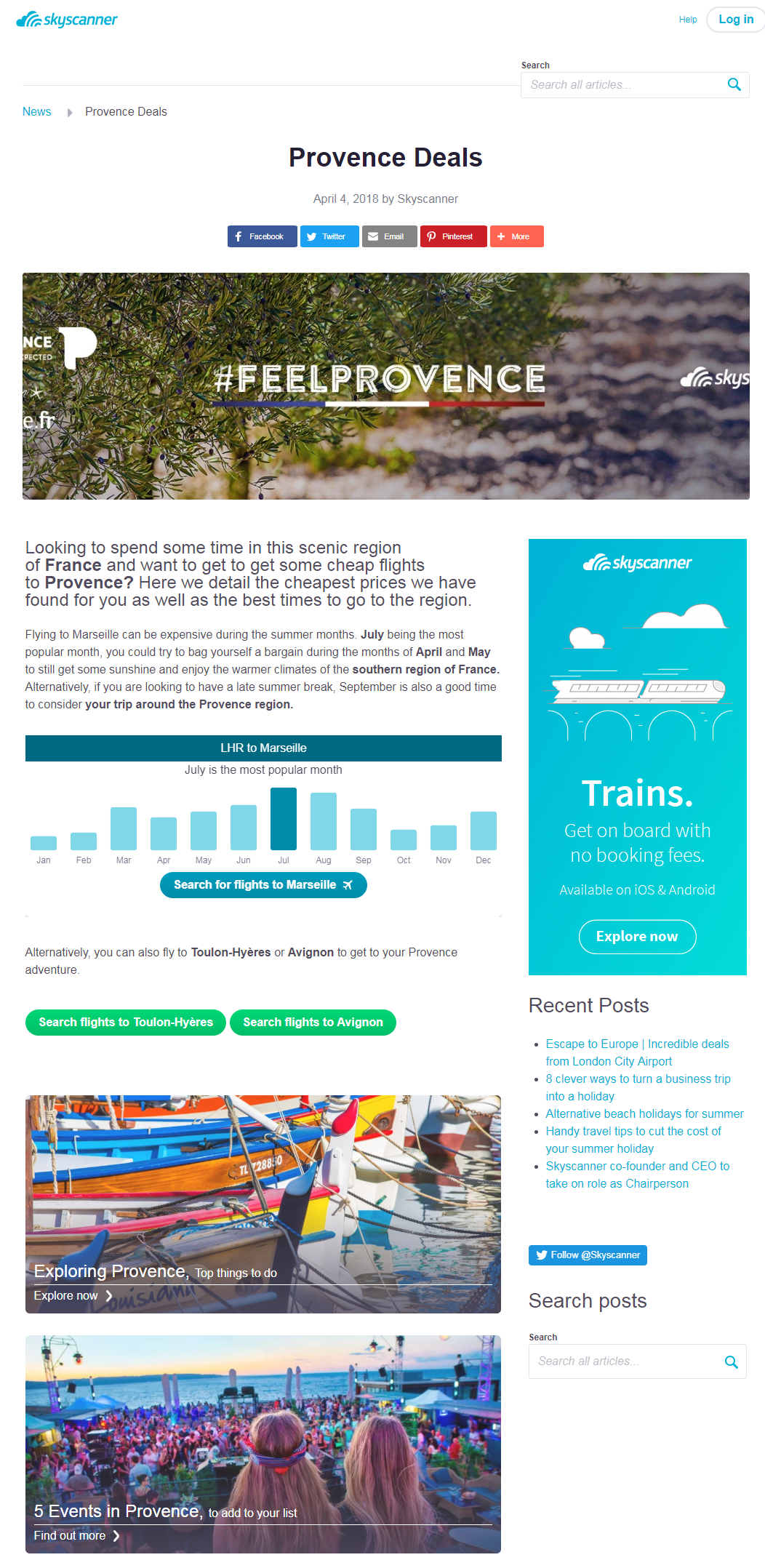 Sponsored content on Skyscanner